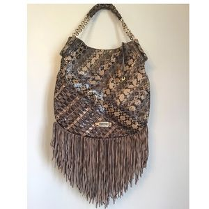 Jimmy Choo Tita Snakeskin and Suede-Fringe